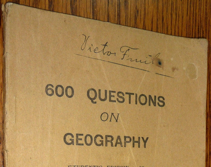 Antique Education Book: 600 Questions on Geography by J.J. Kraps 1909 Salem OR Teaching Education Instruction Capital Normal School