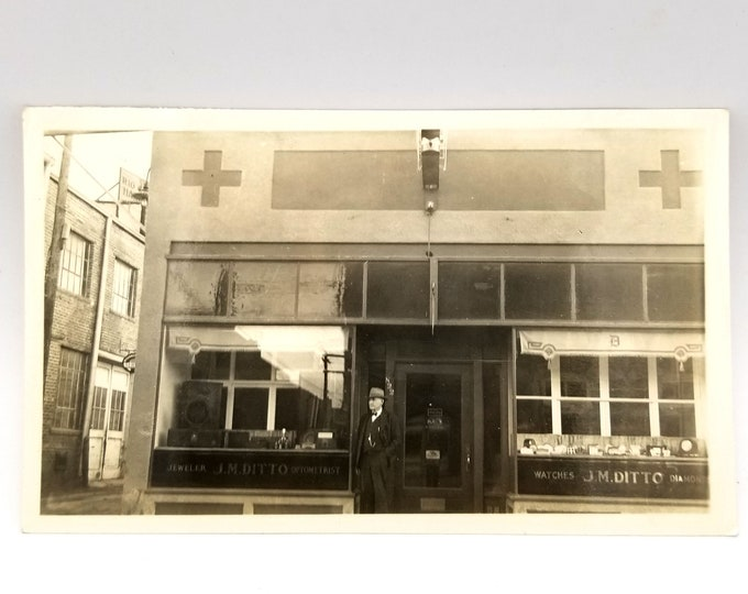 Photo of J. M. Ditto, jeweler and optometrist, in Monte Vista, Rio Grande County, Colorado