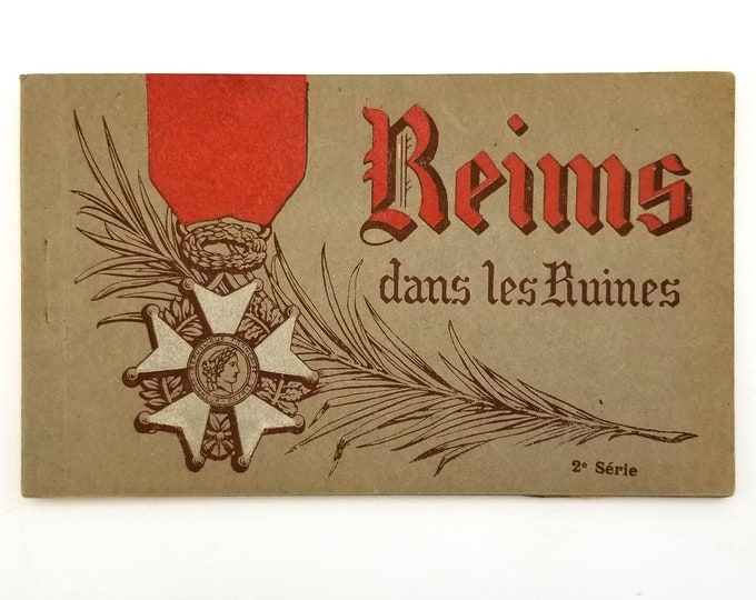 Postcard Book Reims dans les Ruines - World War I Ruins - France - WWI - 1919 - Marne