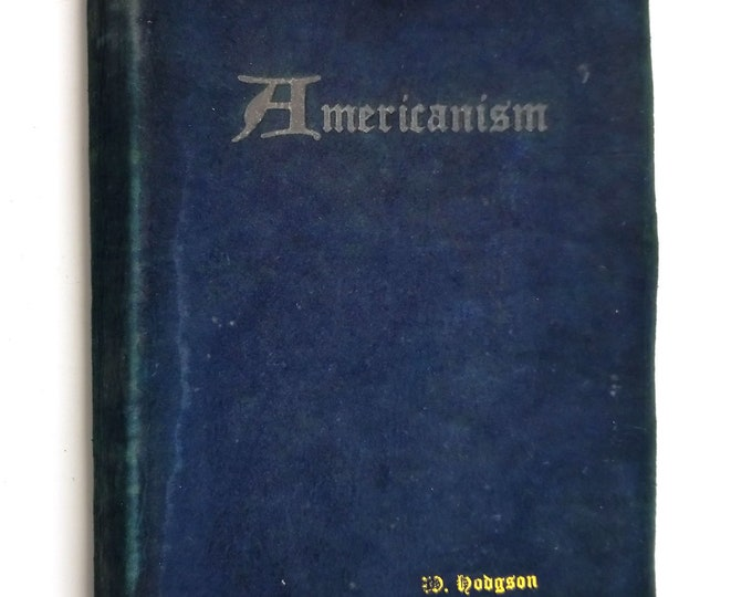 Rare Vintage Book: Americanism by Hubert Beckwith Groves Rare Government Civics Suede Soft Cover 1923