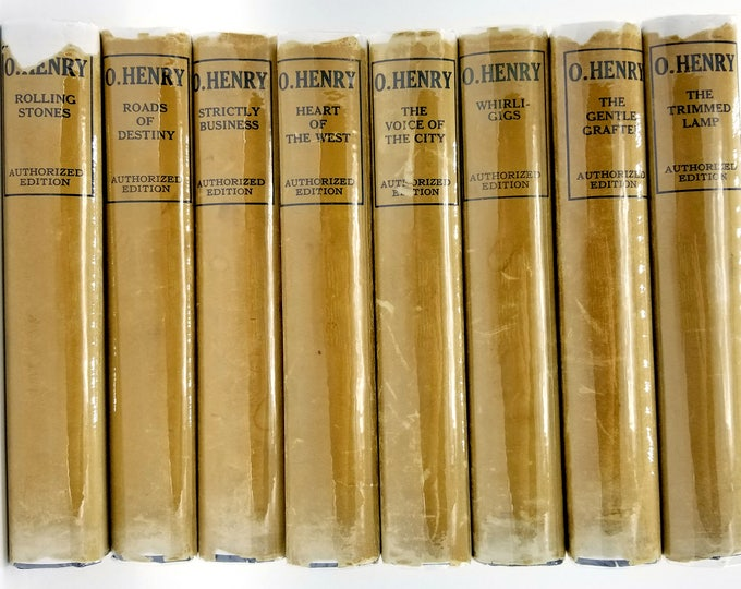 Set of 8 Volumes by O. Henry 1904 to 1912 Doubleday Doran & Co. - Hardcover HC with Dust Jacket DJ - Collectible Antique Ficiton