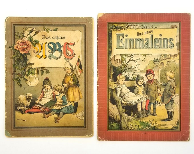 Antique Children's Books: Das Schone ABC and Das neue Einmaleins Ca. 1890s Arithmetic ABC's Animals Rhymes German Language