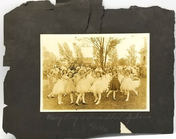 5 vintage photographs Spokane, Washington, 1921 (Natatorium Park, Holmes School, etc.) May Day, Ballerinas, Twickenham Park, Plunge Pool,