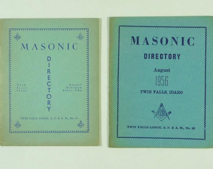 Masonic Directory, Twin Falls, Idaho Lodge No. 45 - two booklets (Aug 1952 and Aug 1956) Freemasonry ID