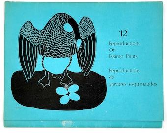 12 Reproductions Of Eskimo Prints: Inuit Art - Sivuak - Juanisialuk - Syollie - Povungnituk Cooperative ca 1970s