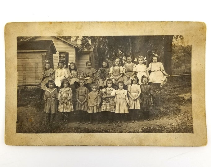 Antique Photo: Kirkwood (Tompkins Township), Warren County, Illinois school girls RPPC circa 1907-1910, Helen Dughman
