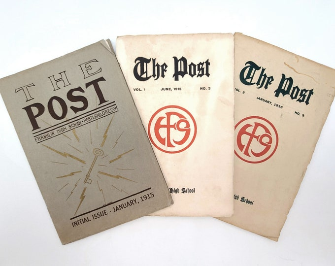 The Post (Franklin High School, Portland, Oregon) set of 3 issues 1915-1916 Multnomah County