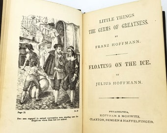 Antique Children's Book: Little Things- The Germs of Greatness & Floating on the Ice 1872 Hoffmann - German Stories