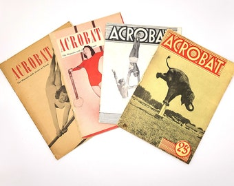 Acrobat (magazine) 4 issues 1949-1950 GLEN SUNDBY Gymnastics Circus Physical Culture