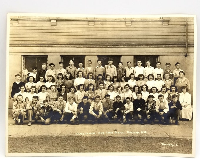 Vintage Photo: Lents School, Portland, Oregon, Class of June 1949 [many 1953 Franklin High School grads]