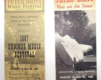 Ticket Stubs two Peter Britt Music Festival ticket stubs 1967 & 1968