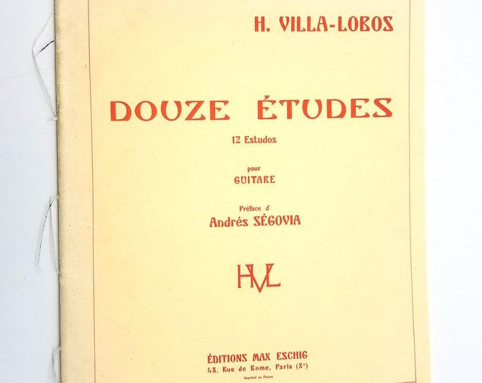 Douze Etudes (12 Estudos) pour Guitare by H. Villa-Lobos Editions Max Eschig Paris - Sheet Music / Songbook