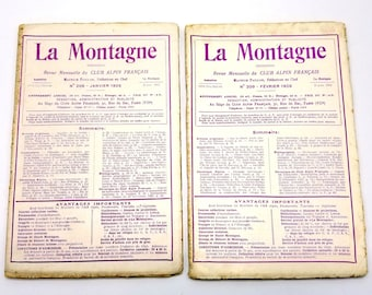 La Montagne Revue Mensuelle du Club Alpin Francais Volume XXIV 1928 (Numbers 208 - 215) Lot of 8 Issues
