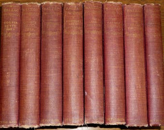Parisian Life (8 of 10 volumes) 1901 Honore de Balzac Anthology Series Set Antique Vintage English Language Classic