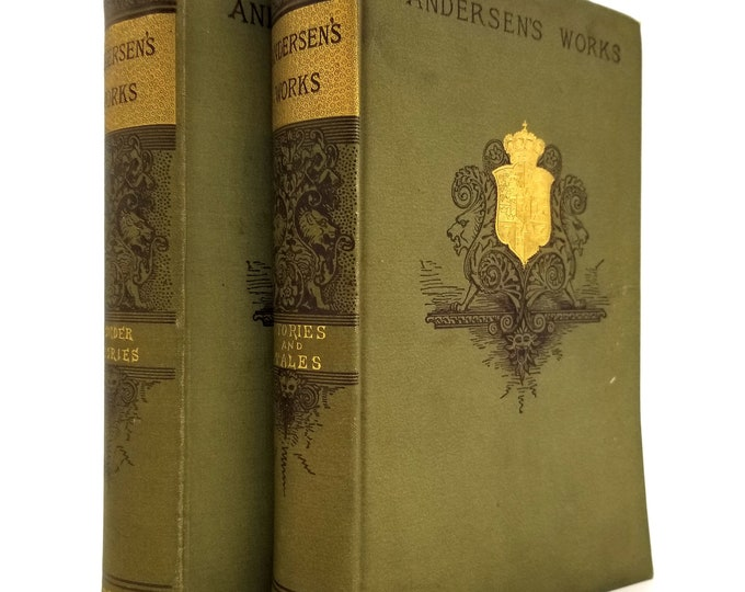 Antique Books: Andersen's Works Wonder Stories Told For Children; Stories and Tales (2 Volumes) Hardcover HC Ca. 1890's