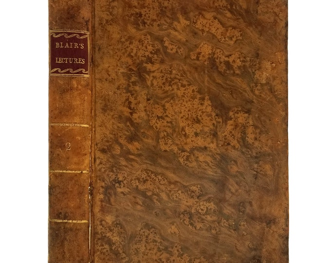 Lectures on Rhetoric and Belles Lettres Vol. II by Hugh Blair 1804 Leather Bound Hardcover HC - Manning & Morse