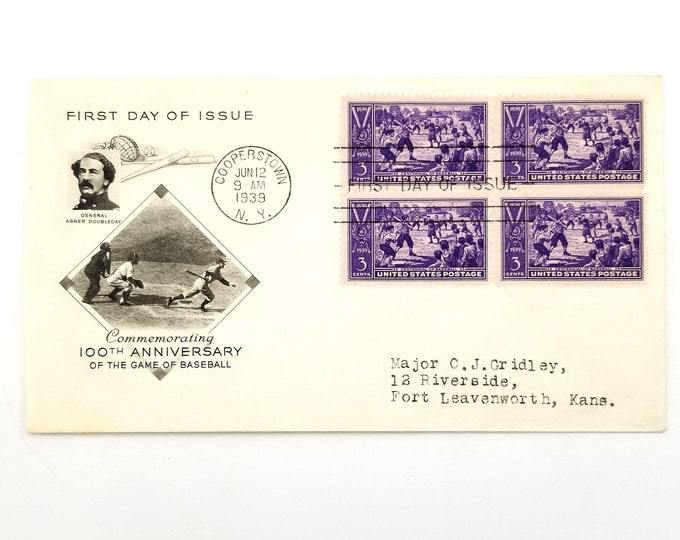 First Day of Issue Cooperstown June 12 1939 Baseball 100th Anniversary United States Postage Stamps Philately