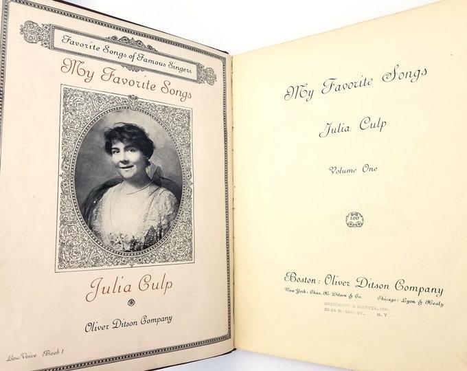 My Favorite Songs: Favorite Songs of Famous Singers Volume 1 ( Low Voice Book 1) by Julia Culp 1916 HC Sheet Music Songbook