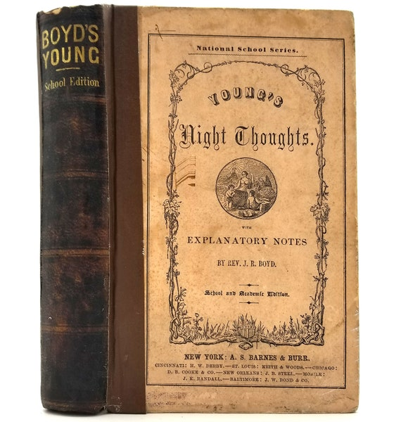 Night Thoughts on Life Death and Immortality by Edward Young Hardcover HC 1860 A.S. Barnes & Burr - Religion - Classics
