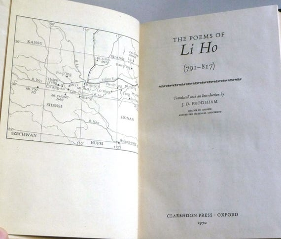 The Poems of Li Ho (791-817) Clarendon Press Oxford 1970 London - Chinese Poetry