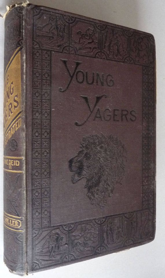 The Young Yagers (or A Narrative of Hunting Adventures in Southern Africa) 1881 by Mayne Reid - Hardcover HC -  Juvenile Fiction Antique
