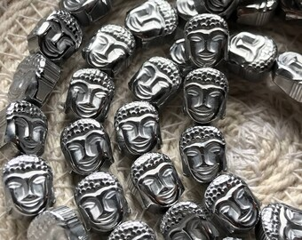 Hematite Silver Plated Buddha Head, 8/6 mm, Qty. 10 Beads, Double-Sided Buddha Head, Dakota Stones