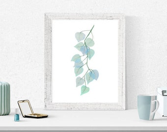 Teal, Green Leaves, Printable Art Digital Download Watercolor Painting, Wall Art, Home Decor