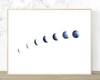 Moon Phases Wall Art, Printable Art Digital Download, Wall Art, Planet, Contemporary Art, Blue Art, Home Decor, Study Art, Zen Art