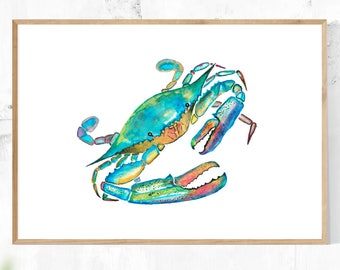 Crab Art, Printable Digital Download, Wall Art, Minimalist, Modern, Contemporary Art, Teal, Turquoise, Green, Blue, Home Decor, Watercolor