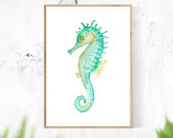 Seahorse, Ocean Theme Wall Art, Printable Instant Digital Download, Wall Art, Sea Art, Green, Teal, Water, Ocean Art, Home Decor, Nautical