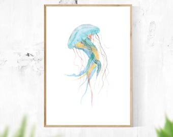 Blue Jellyfish - Digital Download Printable Art, Wall Art, Minimalist, Modern, Home Decor, Teal, Turquoise, Green, Yellow, Ocean, Sea