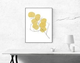 Yellow Leaves, Flowers - Printable Digital Download Watercolor Art, Wall Art, Home Decor