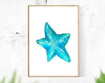 Teal Star Fish, Printable Instant Digital Download, Watercolour Painting, Wall Art, Blue, Green, Turquoise Art, Nautical Home Decor