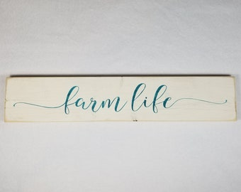 Handpainted Wood Sign, Farm Life Typography Word Sign, Painted Sign, Home Decor, Farmhouse Shabby Chic Distressed Stained Sign Wall Art