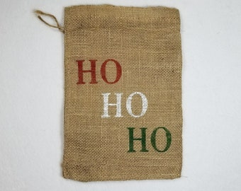 Burlap Bag, Ho Ho Ho Burlap Holiday Bags, Burlap Gift Bags, Gift Bags, Goodie Bags, Party Bags, Christmas Bags, Christmas Party Bags, Decor