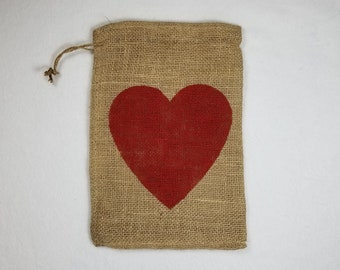Burlap Bag, Heart Valentine's Day Burlap Holiday Bags, Burlap Gift Bags, Gift Bags, Goodie Bags, Party Bags, Valentine's Party Bags
