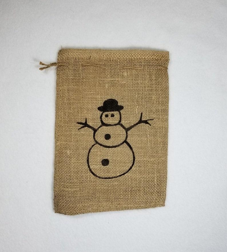 Burlap Bag Snowman Burlap Holiday Bags Burlap Gift Bags image 0