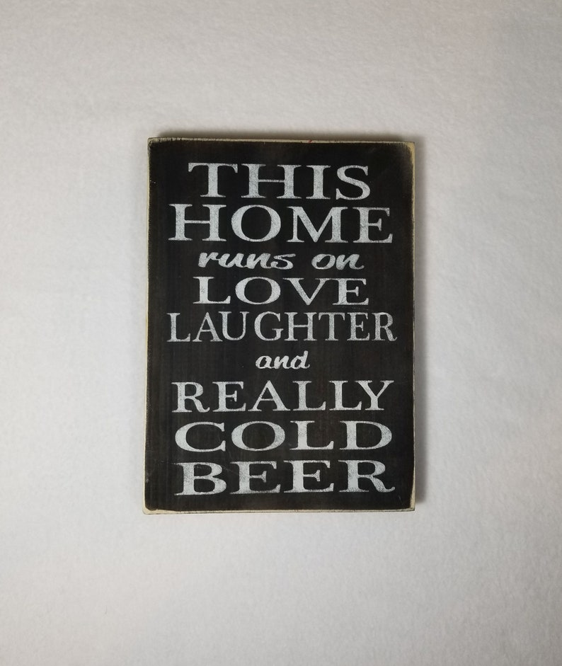 Handpainted Wood Sign Cold Beer Wood Typography Word Sign image 0