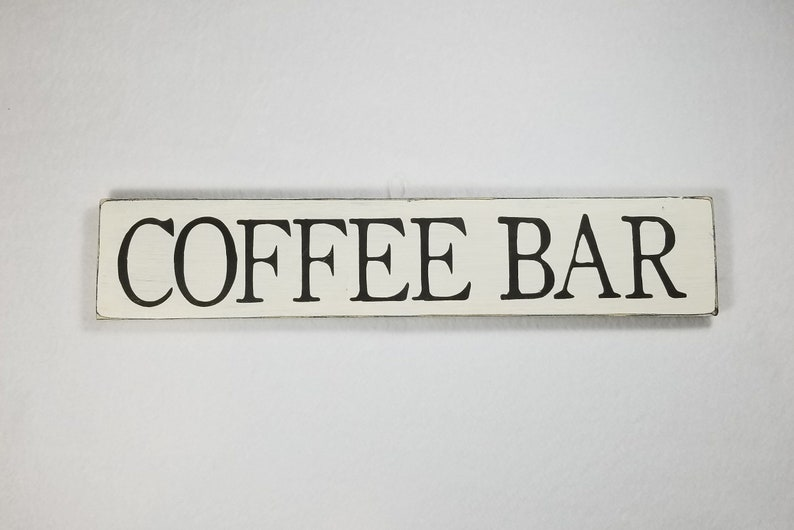 Handpainted Wood Sign Coffee Bar Typography Word Sign image 0