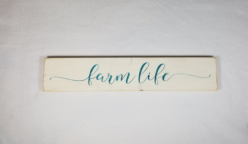 Handpainted Wood Sign Farm Life Typography Word Sign Painted image 0