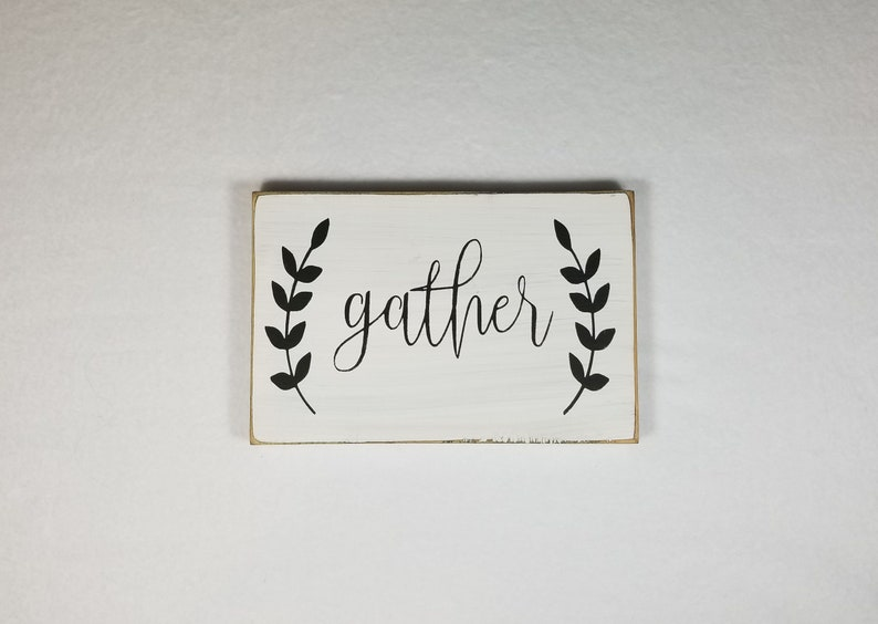 Handpainted Wood Sign Gather Typography Word Sign Painted image 0