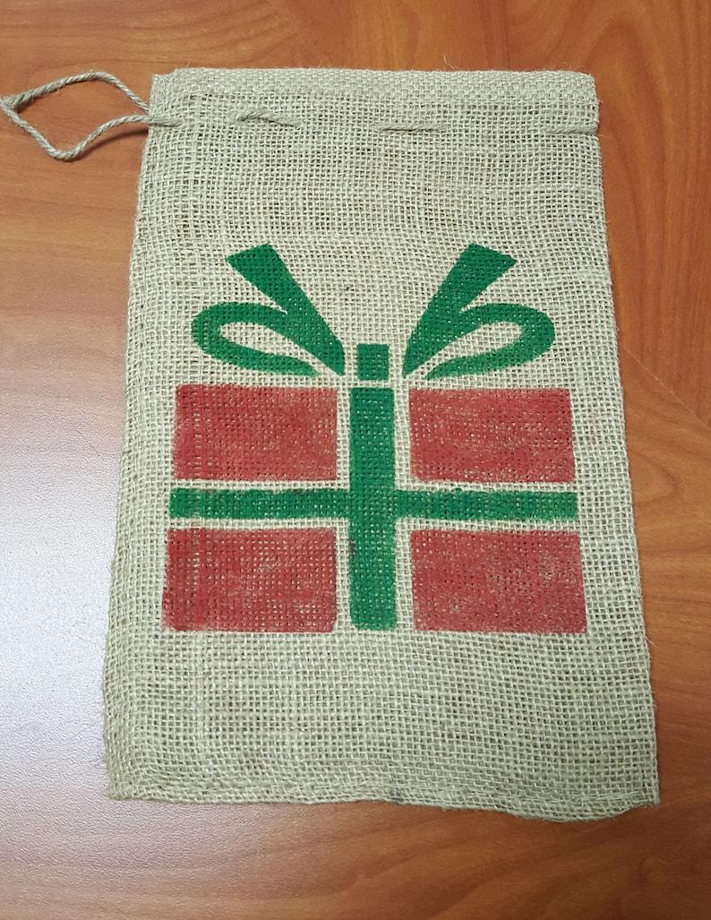 Burlap Bag Wrapped Gift Holiday Bag Burlap Gift Bags Gift image 0