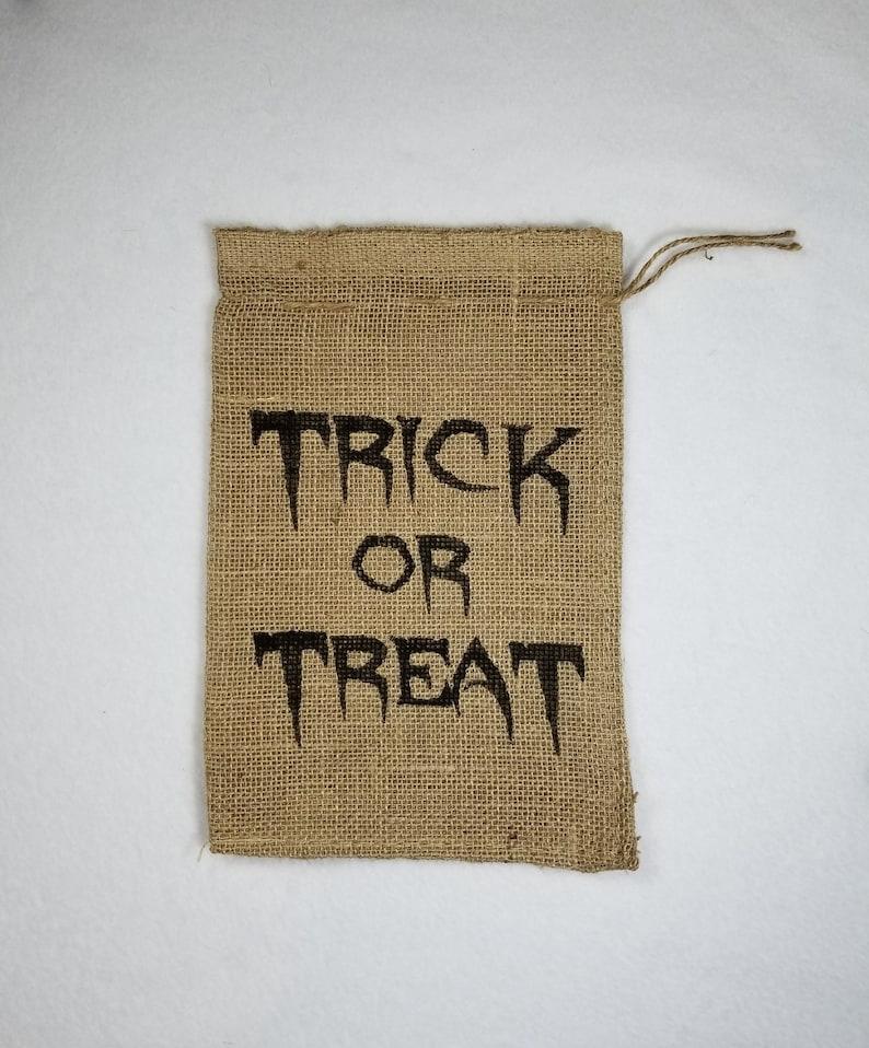 Burlap Bag Trick or Treat Burlap Holiday Bags Burlap Gift image 0