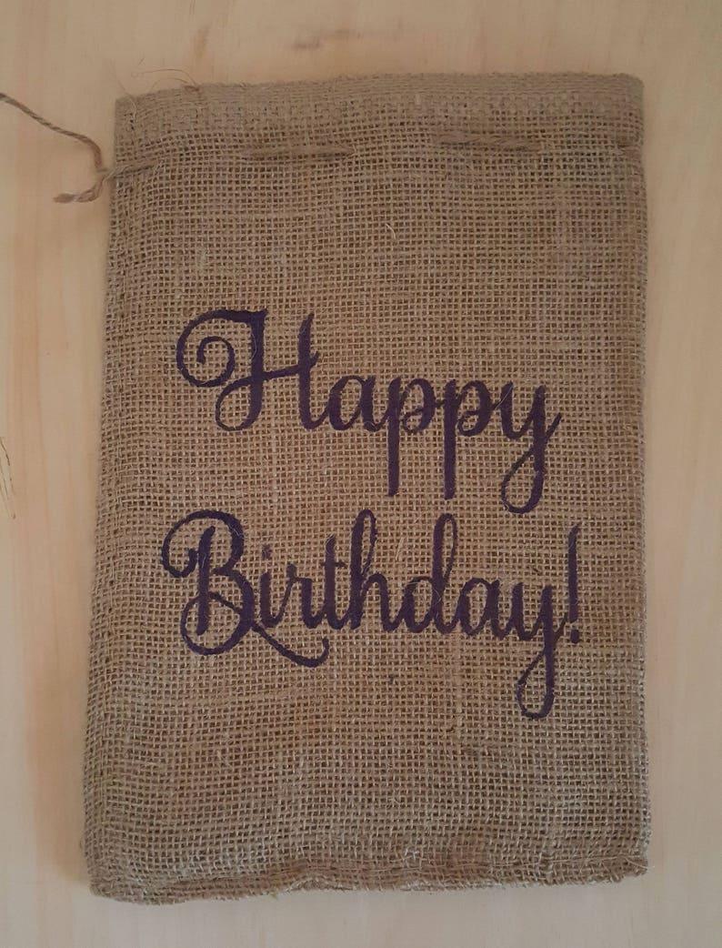 Burlap Bag Happy Birthday Burlap Bags Burlap Gift Bags image 0