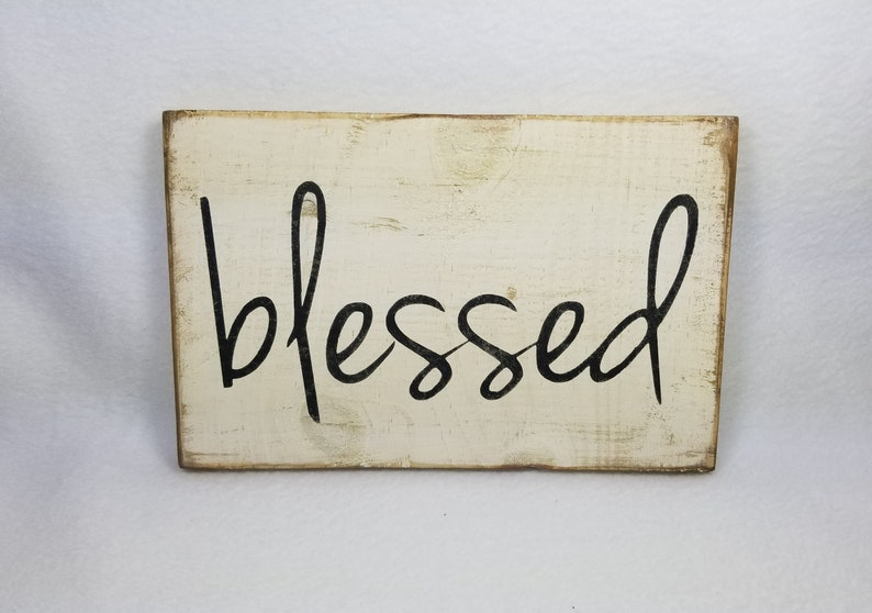 Handpainted Wood Sign Blessed Typography Word Sign Painted image 0