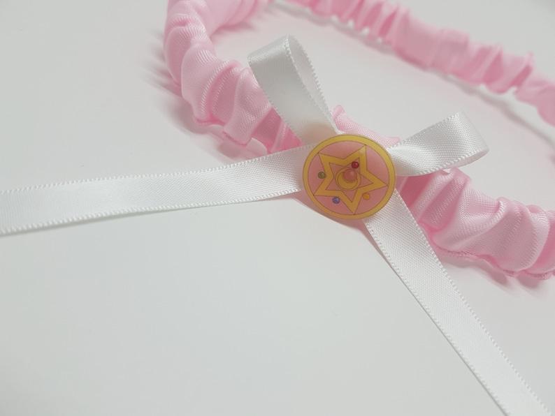 Sailor Moon Locket Wedding Garter  Pink Satin and Lace Bridal Garter  Custom Sailor Scouts Garter Belt  Anime Lingerie  Bride to be