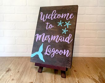 Mermaid Lagoon Wooden Sign, Welcome Sign, Wood Sign Saying, House Sign, Rustic Sign, Mermaid Party, Gift for Friend, Easel Sign