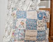 Blue Patchwork Pillow, Vintage Quilt Pillow, Blue and White Farmhouse Pillow