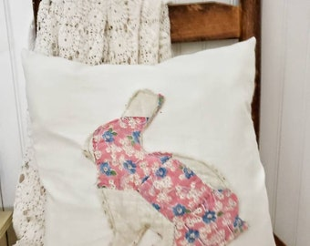 Appliqued Bunny Pillow Cover, Pink Bunny Pillow Cover, Pink Spring Pillow Cover, Farmhouse Pillow Cover, Rabbit Pillow Cover, Nursery Pillow