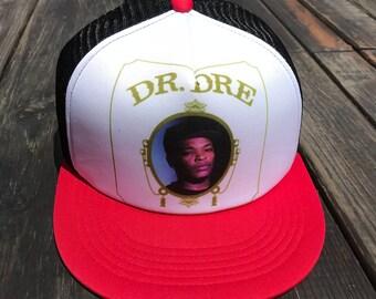 a0fcaf4178f Trucker Hat Cap SnapBack Dr Dre Hiphop Adjustable Strap (red black)